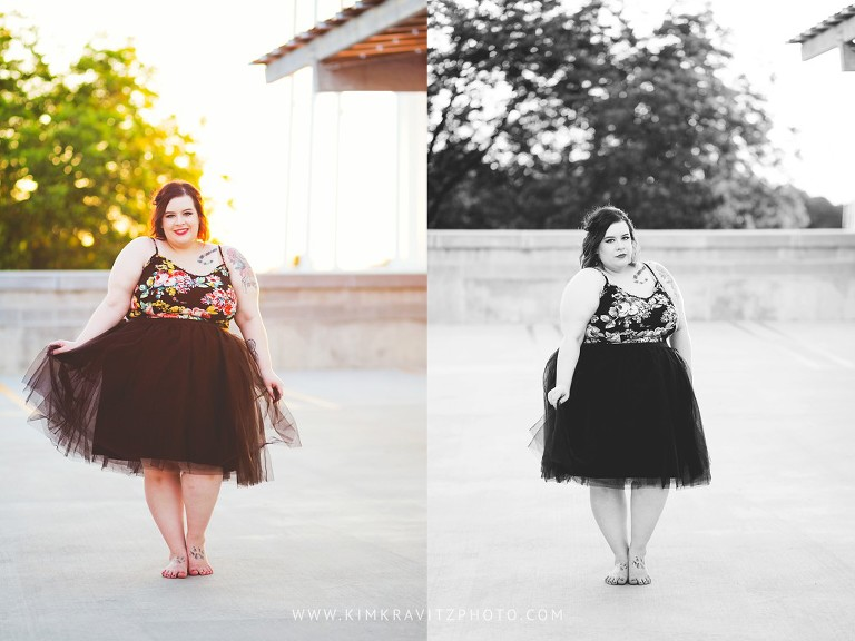 Plus Size Fashion Blogger at Sunset in tulle skirt