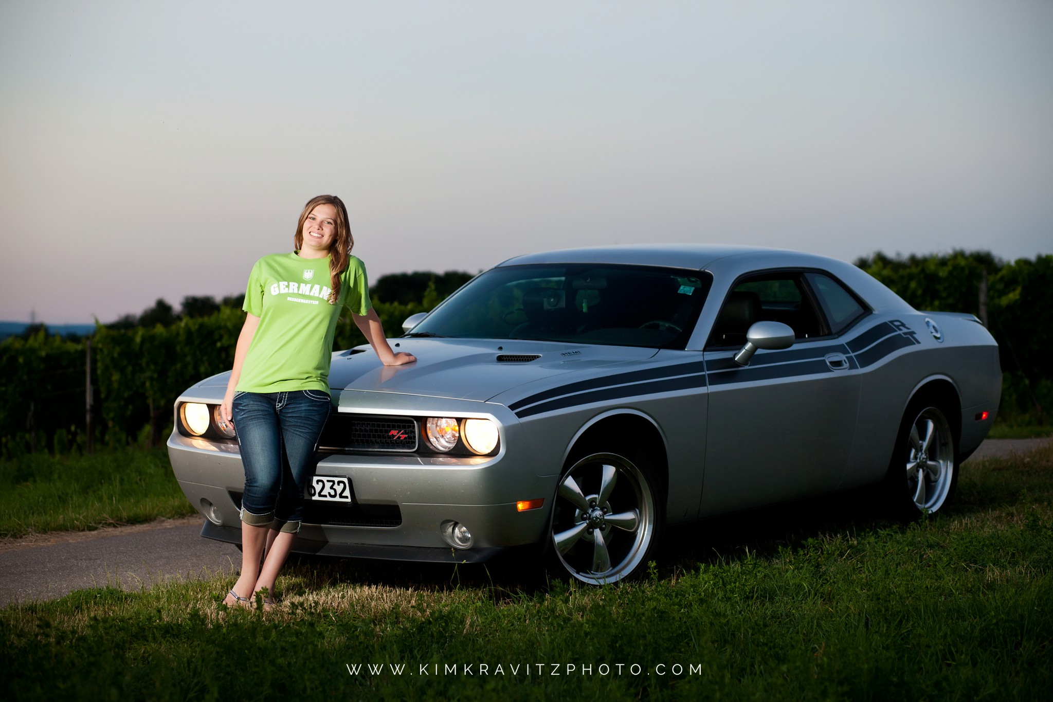 Girard Kansas High School Senior Pictures in Europe Kim Kravitz Dodge Challenger