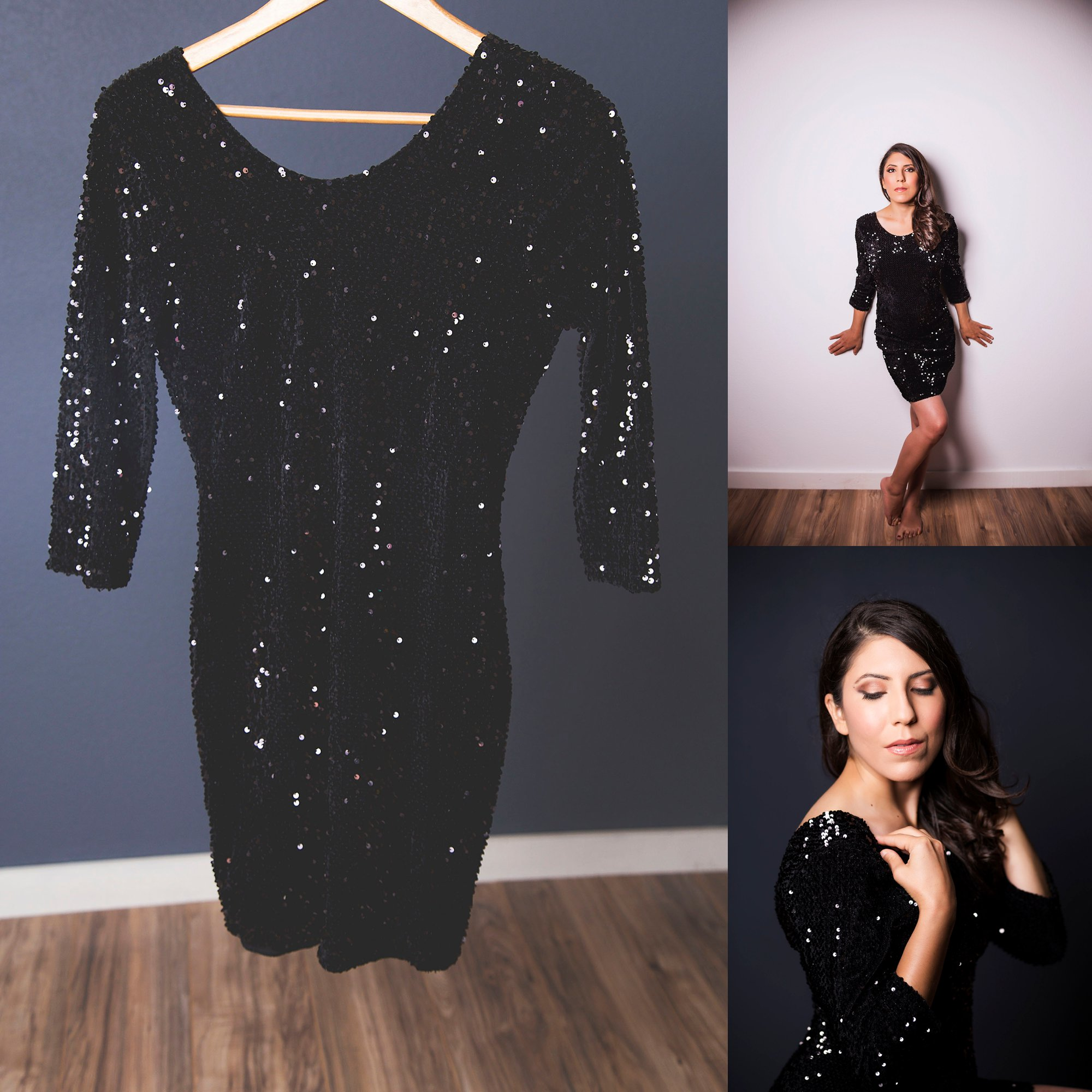 What to wear boudoir photography little black sequin dress