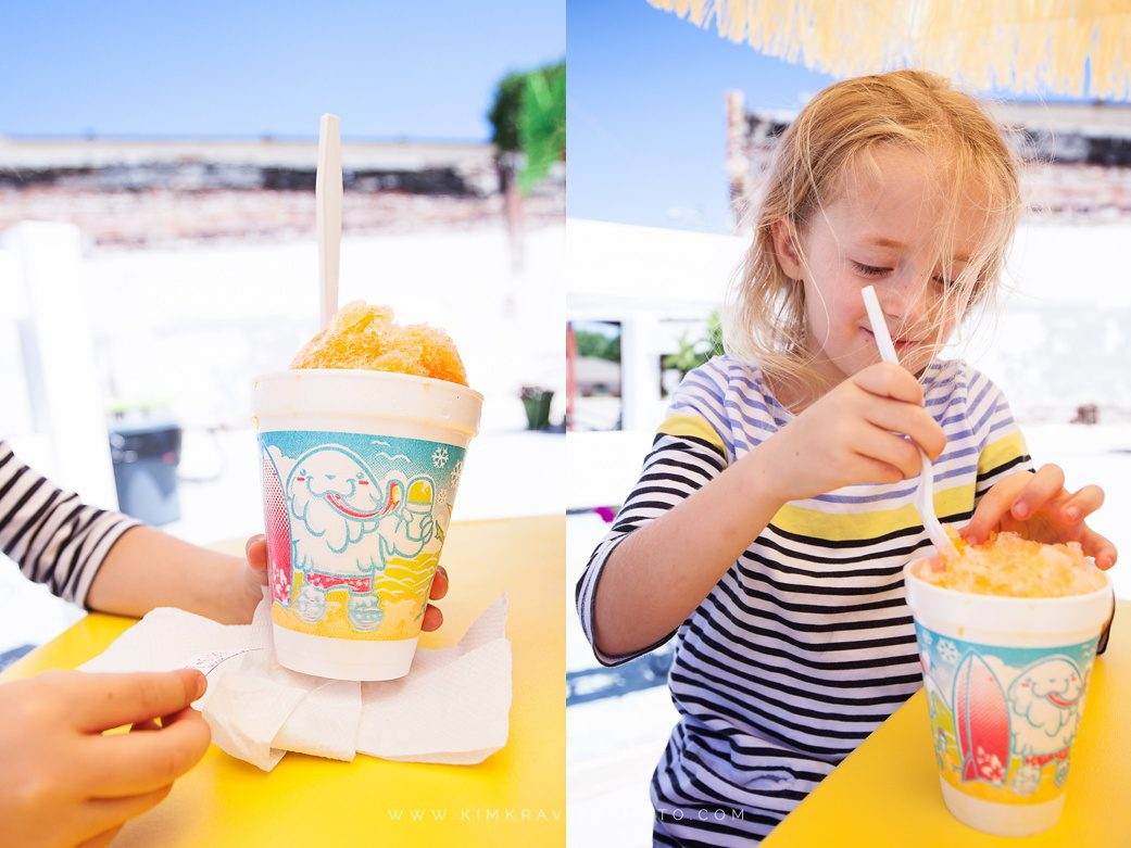 Getting snow cones at buckle's sweet treats in girard kansas during the summer