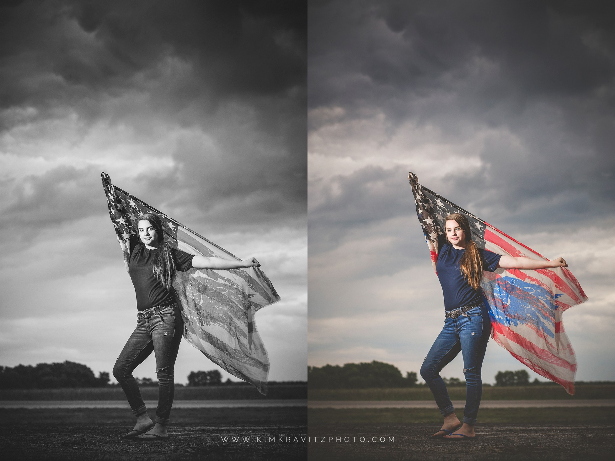 Girard Kansas High School Senior Pictures Kim Kravitz off camera flash American flag