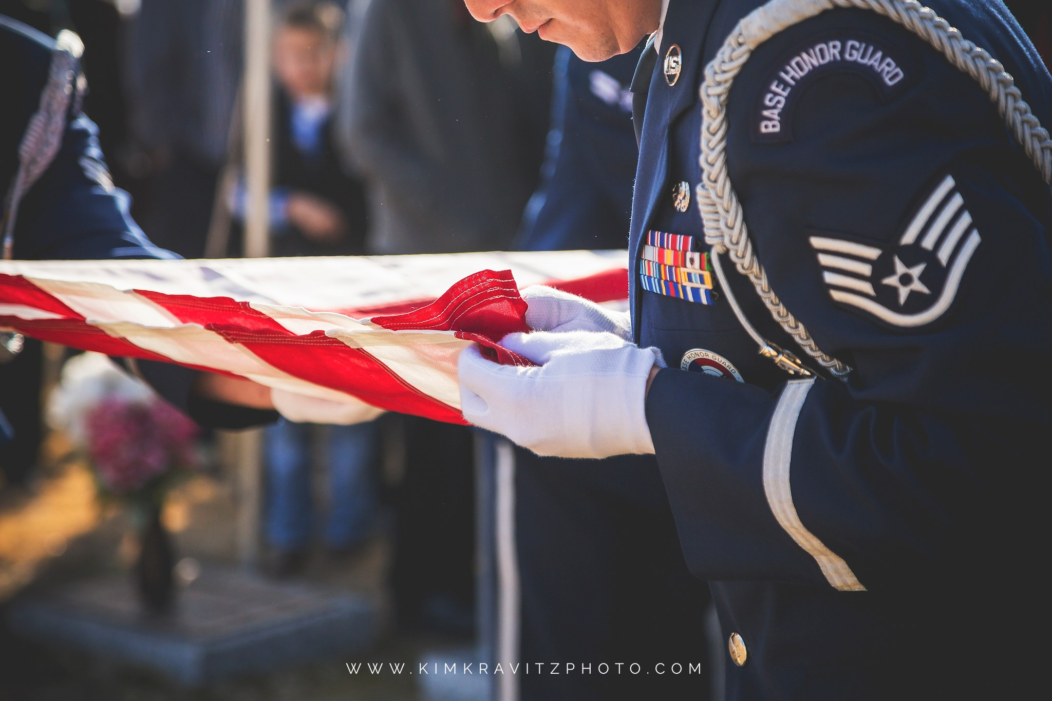 Military funeral folding the flag air force honor guard