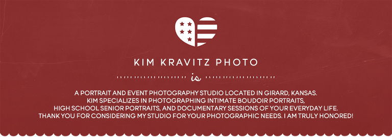 Kim Kravitz Photography is a photography studio located in Girard, Kansas. Kim specialize in photographing boudoir and senior portraits and lifestyle documentary event photography coverage.